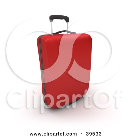 Clipart Illustration of a Red Rolling Suitcase by Frank Boston