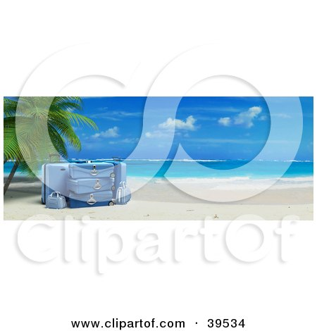 Clipart Illustration of Blue Luggage Resting Under A Palm Tree On A Tropical Beach With White Sands And Blue Skies by Frank Boston