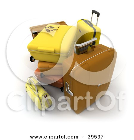 Clipart Illustration of a Stack Of Brown, Orange And Yellow Suitcases by Frank Boston