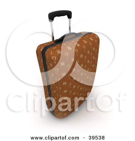 Clipart Illustration of a Brown Upright Rolling Suitcase With Question Mark Fabric by Frank Boston