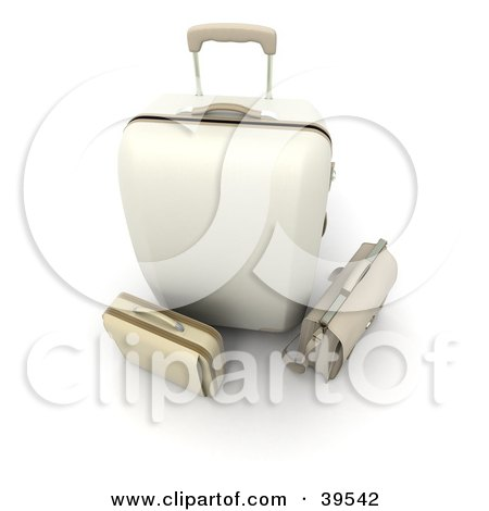 Clipart Illustration of a White Rolling Suitcase With A Beige Bag And Briefcase by Frank Boston