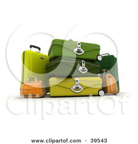Clipart Illustration of Yellow, Orange And Green Suitcases by Frank Boston