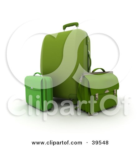 Clipart Illustration of a Green Rolling Suitcase With A Bag And Briefcase by Frank Boston