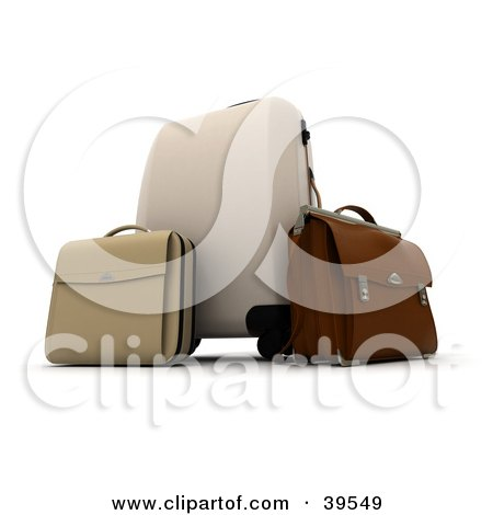 Clipart Illustration of a Beige Rolling Suitcase With A Bag And Brown Briefcase by Frank Boston