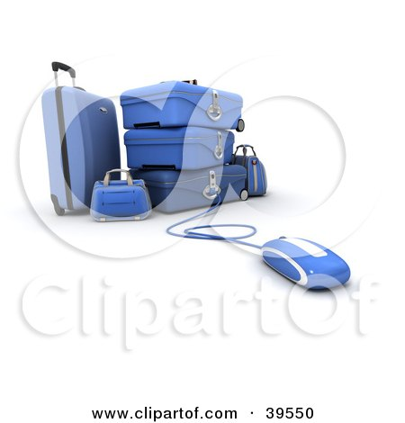 Clipart Illustration of a Computer Mouse Connected To Bllue Suitcases by Frank Boston