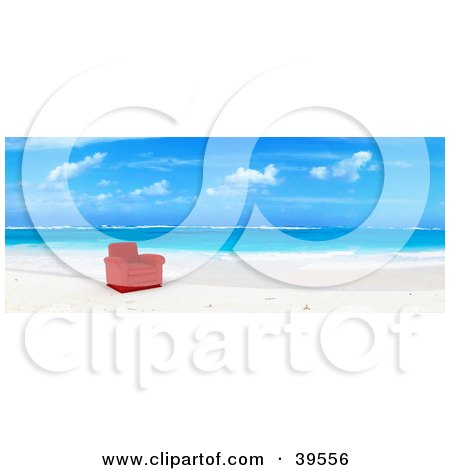 Clipart Illustration of a Red Leather Chair At The Water's Edge On A Tropical Beach by Frank Boston