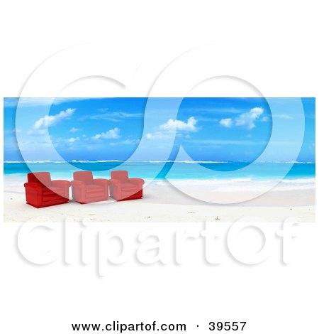 Clipart Illustration of Three Red Leather Chairs At The Water's Edge On A Tropical Beach by Frank Boston