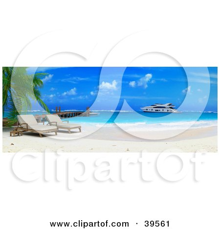 Clipart Illustration of a Yacht Out At Sea Near A Tropical Beach With Lounge Chairs And A Dock by Frank Boston