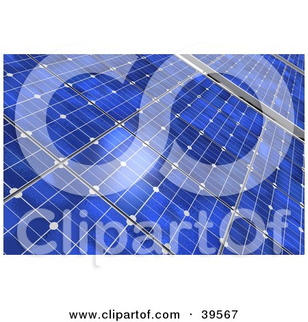 Clipart Illustration of a Closeup Of Blue Solar Panels Generating Energy by Frank Boston
