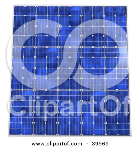 Clipart Illustration of Rows Of Blue Solar Panels Generating Energy by Frank Boston