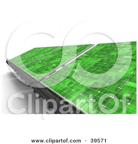 Clipart Illustration of Green Solar Panels Generating Energy by Frank Boston