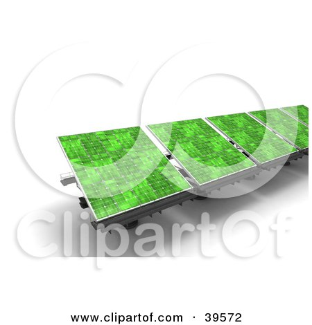 Clipart Illustration of a Row Of Green Solar Energy Panels by Frank Boston