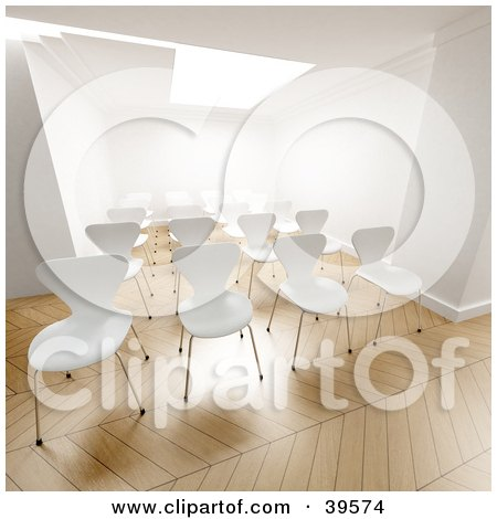 Clipart Illustration of Empty White Office Chairs Prepared For A Seminar In A Bright Office by Frank Boston