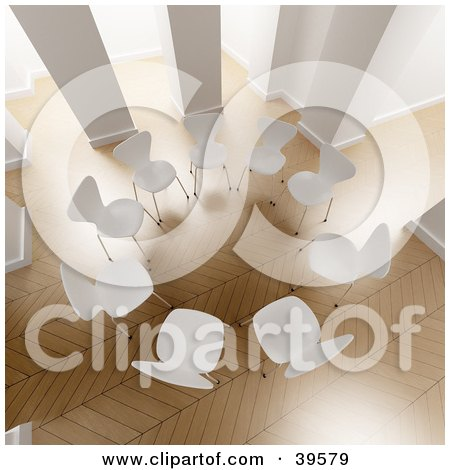 Clipart Illustration of an Aerial View Of A Circle Of White Chairs In A Bright Office With Wooden Floors by Frank Boston