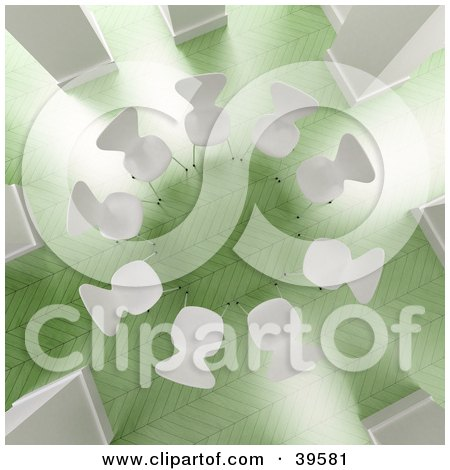 Clipart Illustration of an Aerial View Of A Circle Of White Chairs In A Bright Office With Green Floors by Frank Boston