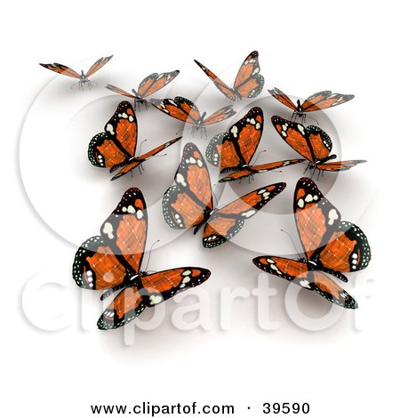 Clipart Illustration of a Group Of Orange Solar Panel Butterflies by Frank Boston
