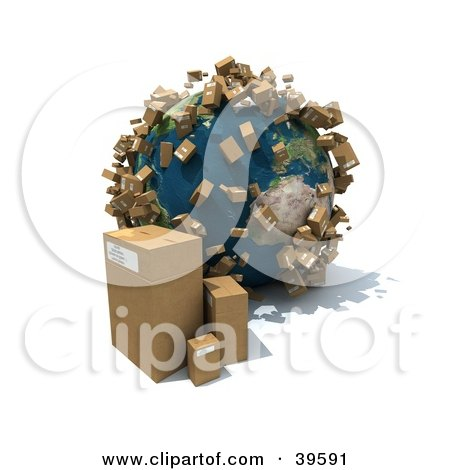 Clipart Illustration of Cardboard Boxes Beside And Popping Up Around Planet Earth by Frank Boston