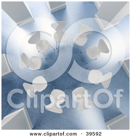 Aerial View Of A Circle Of White Chairs In A Bright Office With Blue Floors Posters, Art Prints