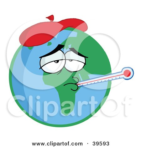 Clipart Illustration of Sick Planet Earth Wearing An Ice Pack, A Thermometer Stuck In His Mouth, Symbolizing Pollution Or The Flu by Hit Toon