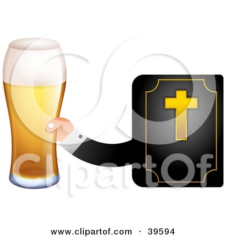 Clipart Illustration of a Mans Hand Emerging From A Bible, Holding A Beer by Prawny
