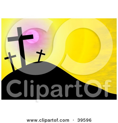 Clipart Illustration of a Yellow Sunset Sky Silhouetting Crosses On A Hill by Prawny