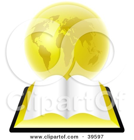 Clipart Illustration of an Open Bible With Blank Pages, Resting In Front Of A Golden Globe by Prawny