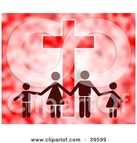 Clipart Illustration of a Family Of Four Holding Hands In Front Of A Cross, In Red Tones by Prawny