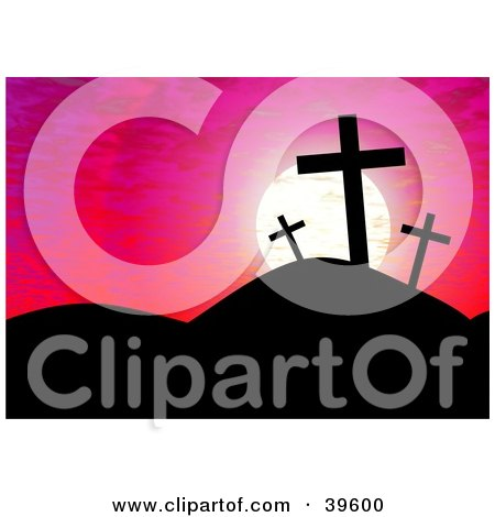 Clipart Illustration of a Pink Sunset Sky Silhouetting Crosses On A Hill by Prawny