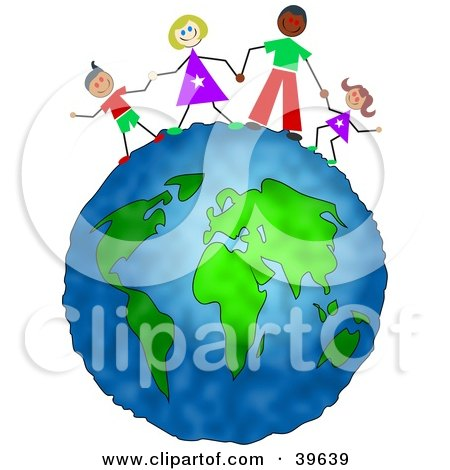 Clipart Illustration of a Happy Inter Racial Family Holding Hands On Top Of The Globe by Prawny