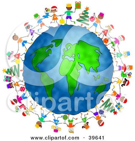 Clipart Illustration of Happy Children Celebrating Christmas Around The Globe by Prawny