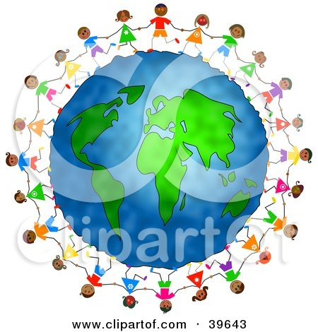 Clipart Illustration of Diverse Children Holding Hands And Running Around The Globe