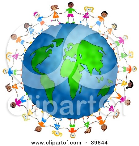 Clipart Illustration of Diverse Children Holding Hands And Standing Around The Globe by Prawny