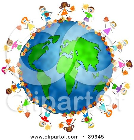 Clipart Illustration of Happy Children Playing In Autumn Leaves Around The Globe by Prawny