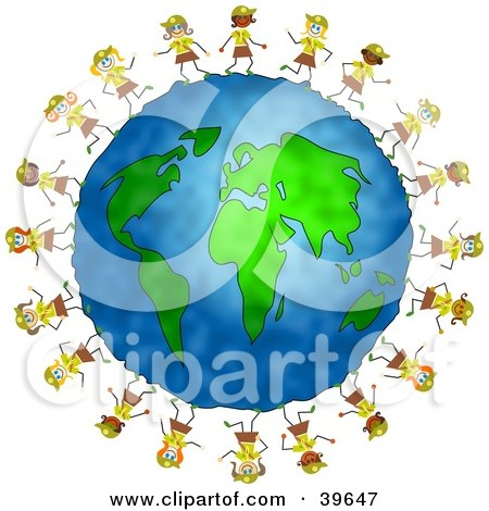 Clipart Illustration of Happy Brownie Scout Girls Running Around The Globe by Prawny