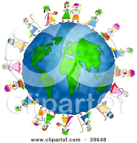 Clipart Illustration of Nativity Children Standing Around The Globe by Prawny