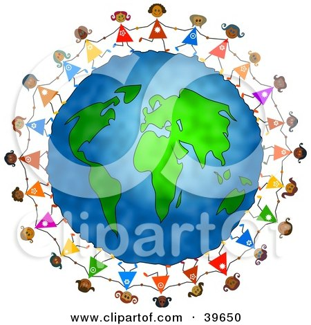 stick people holding hands around world. stick figures holding hands around the world. Royalty-free clipart