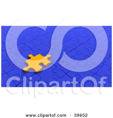 Clipart Illustration of an Orange Jigsaw Puzzle Piece Resting On A Blue Puzzle by KJ Pargeter