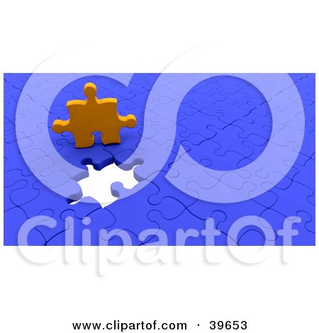 Clipart Illustration of an Orange Puzzle Piece Above An Empty Space On A Nearly Complete Blue Puzzle by KJ Pargeter