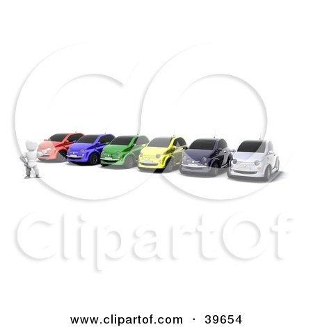 Clipart Illustration of a Car Salesman Presenting A Colorful Line Of Vehicles For Sale Or Rent by KJ Pargeter