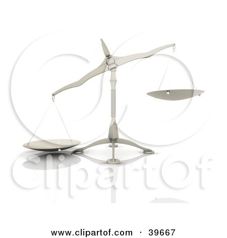 Clipart Illustration of a Tipped Scale On A Reflective White Surface by KJ Pargeter
