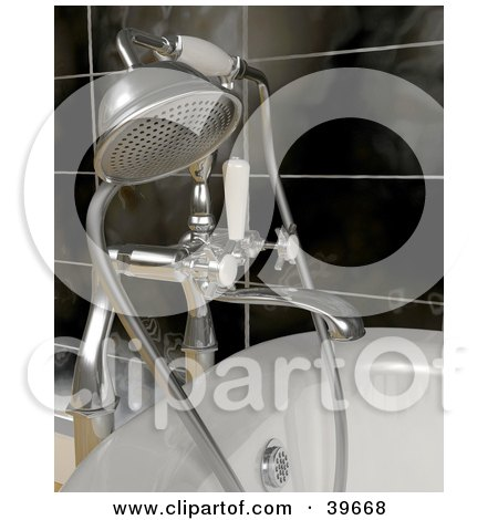 lipart Illustration of a Silver Shower Head Attached To A Bath Tub by KJ Pargeter
