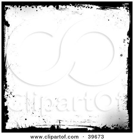 Clipart Illustration of a Grunge White Background Bordered In Black Splatter Grunge by KJ Pargeter