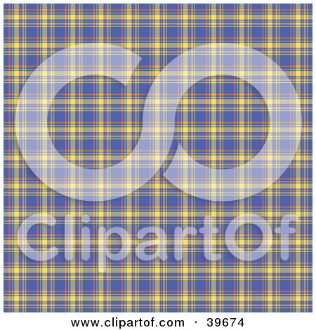 Clipart Illustration of a Square Blue, Orange And Yellow Plaid Tartan Background Pattern by KJ Pargeter