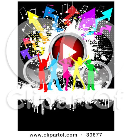 Clipart Illustration of a Group Of Colorful Silhouetted Ladies Dancing With Speakers, A Play Button, Music Notes And Arrows by KJ Pargeter