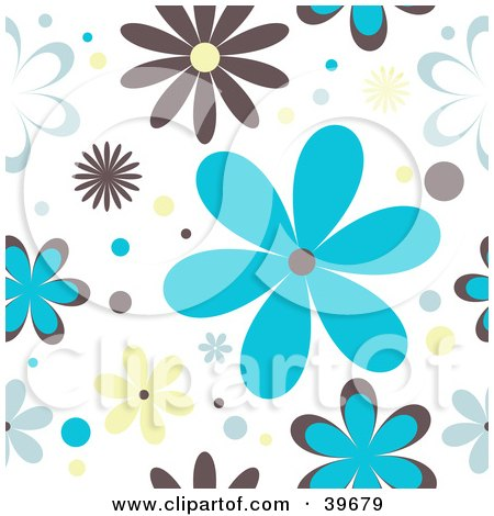 Clipart Illustration of a Retro Brown, Blue And Yellow Floral Background On White by KJ Pargeter