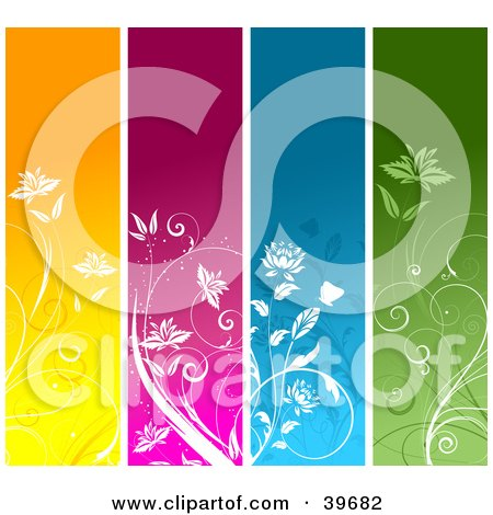 Clipart Illustration of Four Orange, Pink, Blue And Green Vertical Floral Panels With White Plants  by KJ Pargeter