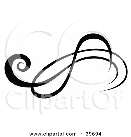 Clipart Illustration of a Black And White Design Element On White by dero