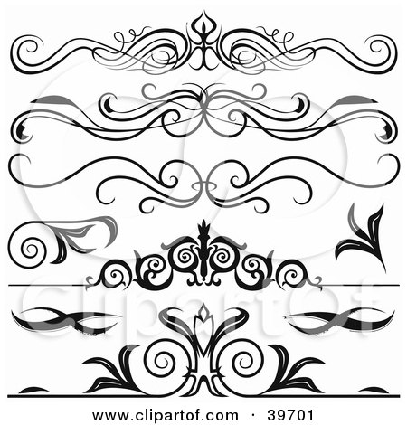 Clipart Illustration of Five Black Lower Back Tattoo Or Website Divider Elements by dero