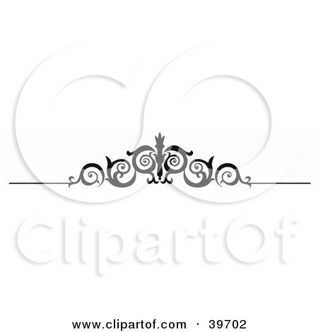 Clipart Illustration of a Black Tendriled Scroll Lower Back Tattoo Or Website Header Design Element by dero