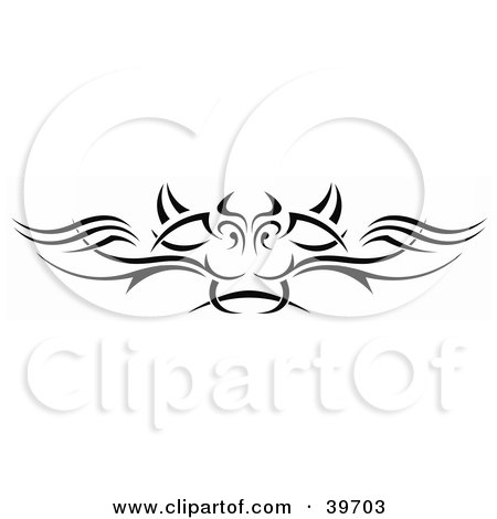 Clipart Illustration of a Black Dragon Face Lower Back Tattoo Or Website Header Design Element by dero